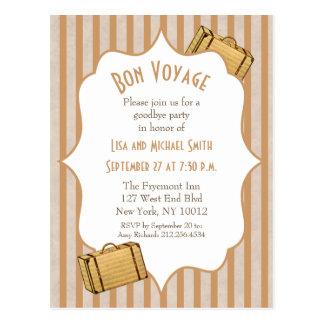Vintage Suitcase Bon Voyage Goodbye Party Invite Postcard