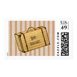 Vintage Suitcase Bon Voyage Postage Stamps