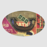 Vintage Suitcase Oval Stickers