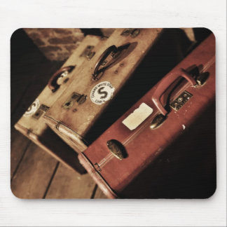 vintage suitcases mouse pad