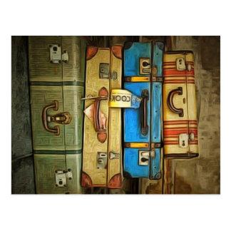 Vintage suitcases postcard