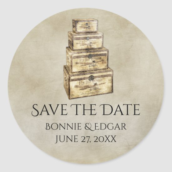 Vintage Suitcases Save The Date Sticker