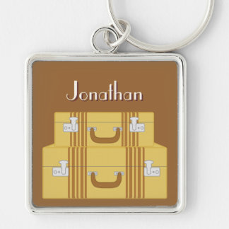 Vintage Suitcases Silver-Colored Square Keychain