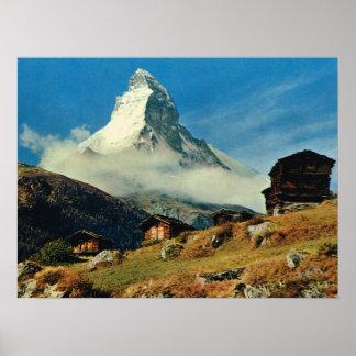 Vintage Suiza, Cervino, Zermatt Póster