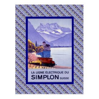 Vintage Suiza, ferrocarril eléctrico de Simplon Postales