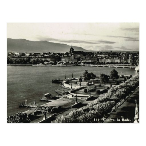 Vintage Suiza, Ginebra, La Rade, área del puerto Tarjeta Postal
