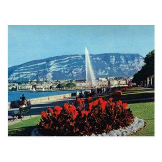 Vintage Suiza, Ginebra, l'eau del jet, jardines Tarjetas Postales