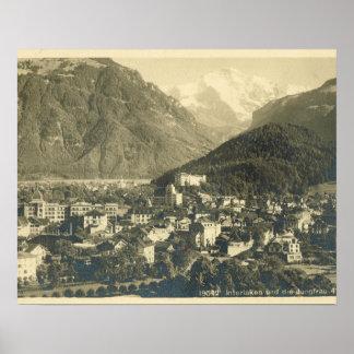 Vintage Suiza, Interlaken y el Jungfrau Póster