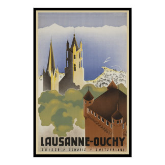 Vintage Suiza Lausanne-Ouchy Póster
