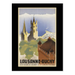 Vintage Suiza Lausanne-Ouchy Tarjeta Postal