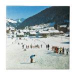 Vintage Suiza, Morgins Ecole de ski Azulejo Cuadrado Pequeño