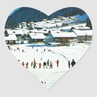 Vintage Suiza, Morgins Ecole de ski Pegatina En Forma De Corazón