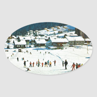 Vintage Suiza, Morgins Ecole de ski Pegatina Ovalada