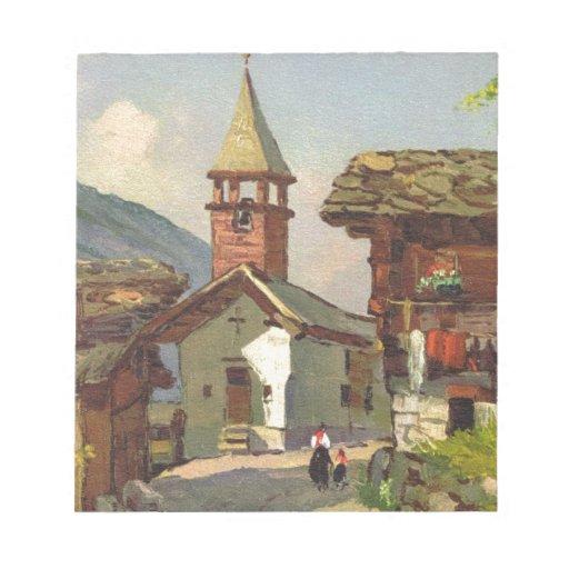 Vintage Suiza, pueblo de A en el Valais Bloc De Papel