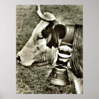 Vintage Suiza, vaca con la campana de la vaca Poster
