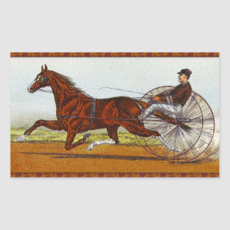 Vintage Sulky Horse Racing Rectangular Sticker