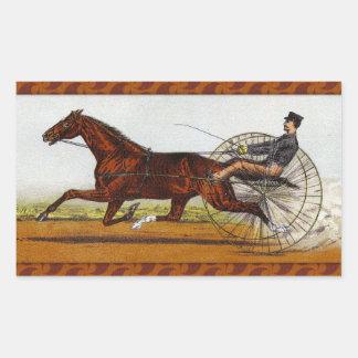 Vintage Sulky Horse Racing Rectangular Sticker