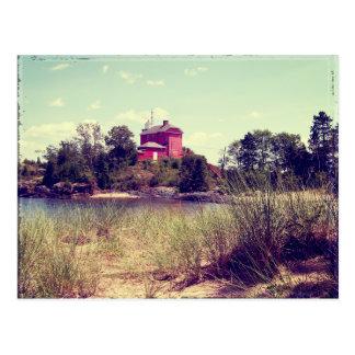 Vintage Summer Beach Lighthouse Postcard