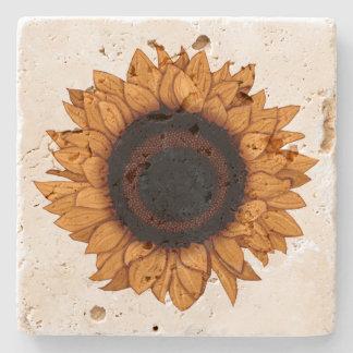 Vintage Summer Bloom Realistic Orange Sunflower Stone Beverage Coaster