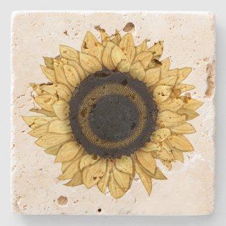 Vintage Summer Bloom Yellow Sunflower Coaster