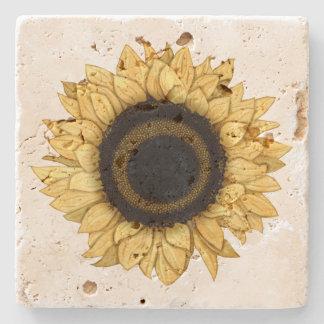 Vintage Summer Bloom Yellow Sunflower Coaster Stone Beverage Coaster