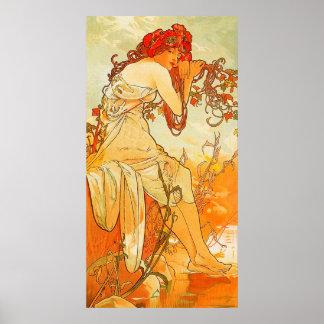 Vintage Summer by Alphonse Mucha Poster
