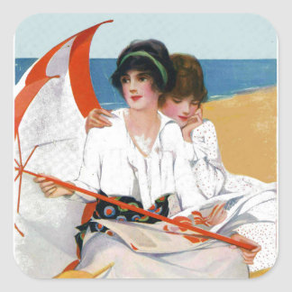 Vintage Summer Day at Beach Stickers