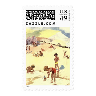 Vintage Summer Holiday at the Beach Stamps