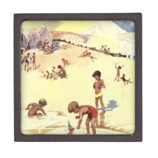 Vintage Summer Holiday at the Beach Premium Keepsake Boxes