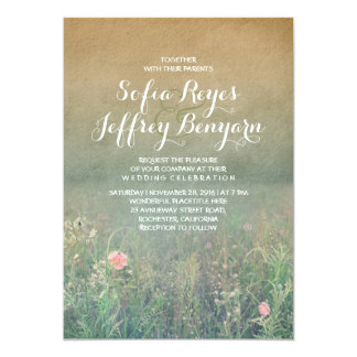 Captivating Vintage Summer Meadow Elegant And Dreamy Wedding Card