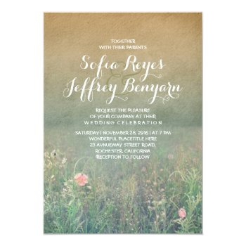 Vintage Summer Meadow Elegant And Dreamy Wedding Card by jinaiji at Zazzle