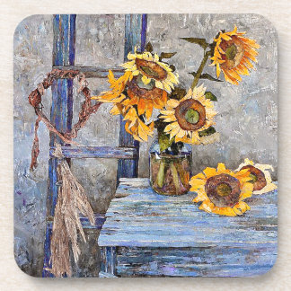 Vintage Summer Sunflower Flowers Painting Coaster