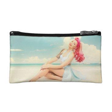 Beach Themed Vintage Summer Time Pinup Make-up Bag