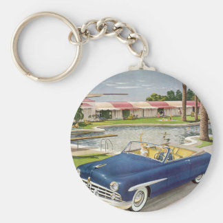 Vintage Summer Vacation, Convertible Car and Motel Keychain
