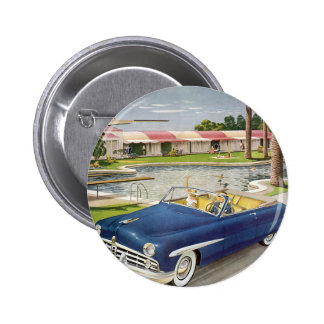 Vintage Summer Vacation, Convertible Car and Motel Pinback Button