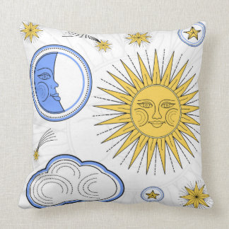 Vintage Sun and Moon Throw Pillow