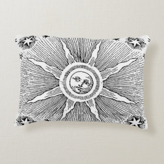 Vintage sun and stars celestial medieval sky drawi accent pillow