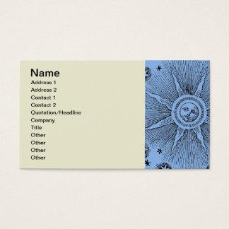 Vintage sun and stars celestial medieval sky drawi business card