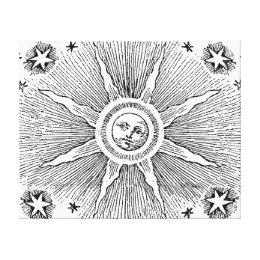 Vintage sun and stars celestial medieval sky drawi canvas print
