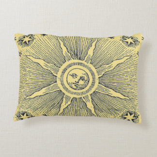 Vintage sun and stars celestial medieval sky drawi decorative pillow