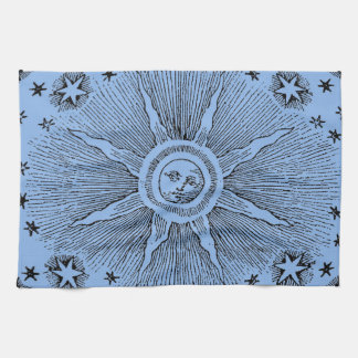 Vintage sun and stars celestial medieval sky drawi hand towel