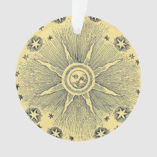 Vintage sun and stars celestial medieval sky drawi ornament