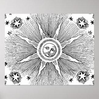 Vintage sun and stars celestial medieval sky drawi poster
