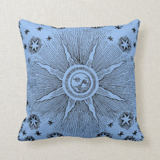 Vintage sun and stars celestial medieval sky drawi throw pillow
