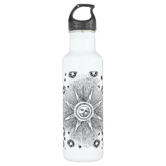 Vintage sun and stars celestial medieval sky drawi water bottle