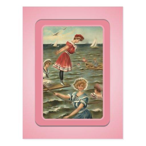 Vintage sun bather beach babes postcard zazzle for Design your own bathers