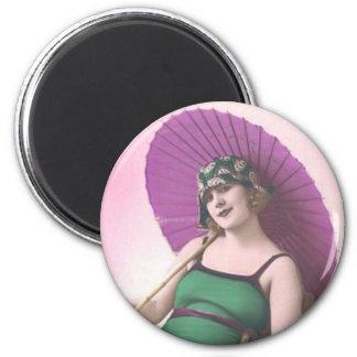Vintage Sun Bather Round Magnet