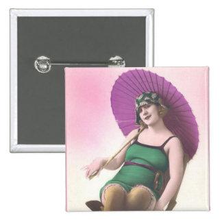 Vintage Sun Bather Square Button