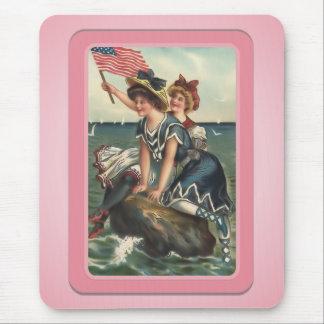 Vintage Sun Bathers Beach Mousepad