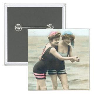 Vintage Sun Bathers Beach Square Button
